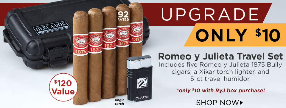 Tag on this Romeo y Julieta Travel Set for only $10 more with your box purchase!