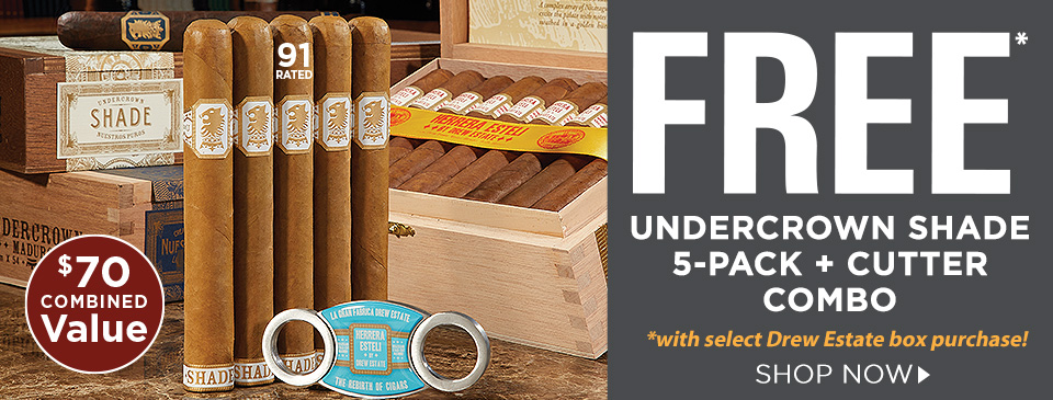 FREE Drew Estate Undercrown Shade 5-Pack + Cutter Combo w/ your select Drew Estate box purchase!