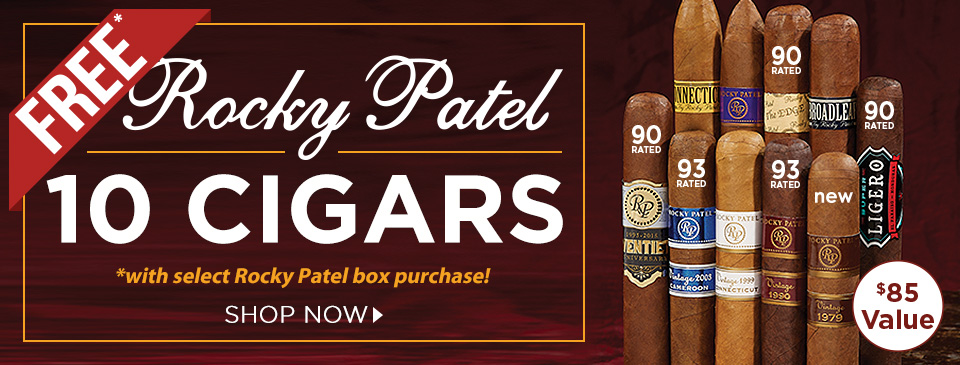 FREE Rocky Patel 10 Cigars w/ select Rocky Patel box purchases!