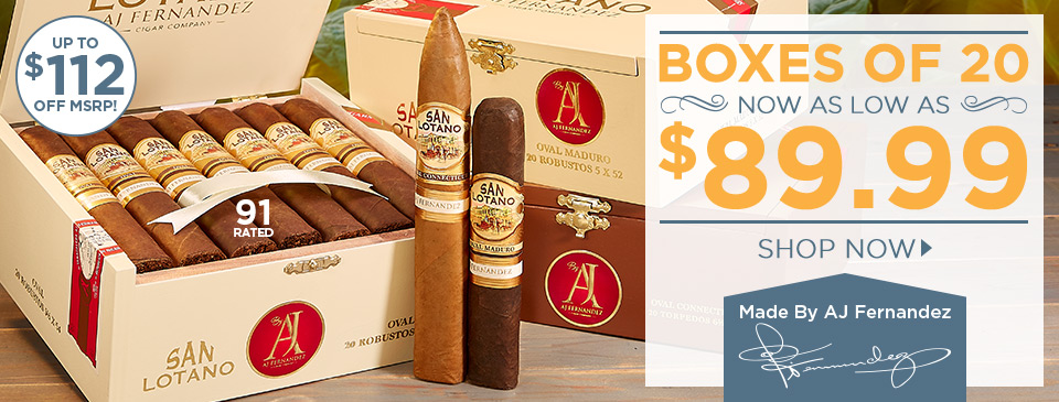 San Lotano by AJ Fernandez, Boxes of 20 as low as $89.99!