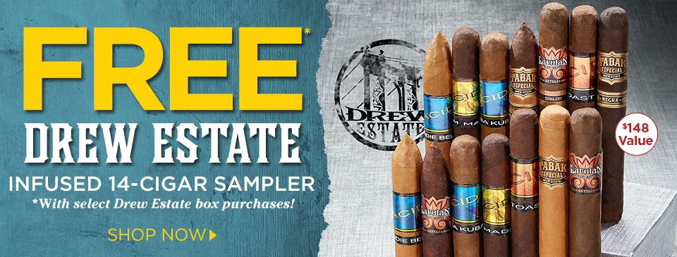 FREE Infused 14-Cigar Sampler w/ Select Drew Estate Box Purchases!