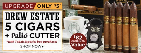Drew Estate 5 Cigars + Palio Cutter only $5 w/ Tabak Especial box purchase!