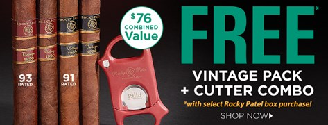 FREE Rocky Patel Vintage Pack + Cutter Combo w/ select Rocky Patel box purchases!