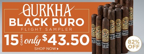 Gurkha Black Puro Flight Sampler - 15 Cigars only $43.50!