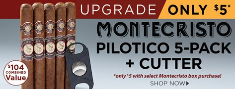 Montecristo Pilotico 5-Pack + Cutter only $5 w/ select Montecristo box purchase!