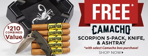 FREE Camacho Scorpion Connecticut 5-Pack + Ashtray + Knife w/ select Camacho box purchases!