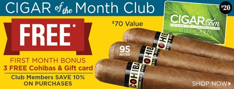 FREE Cohibas and Gift Card When You Sign Up For the Cigar of the Month Club!