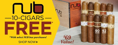 10 FREE Nub Cigars w/ Select Nub Box Purchases!