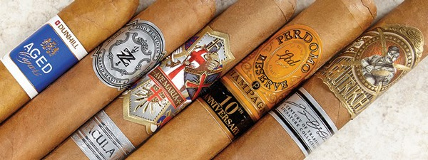 Gurkha Symphony, Perdomo Reserve Champagne 10th Anniversary, Ave Maria Immaculata, Zino Platinum Scepter Series, Dunhill Aged Dominican