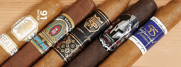 Victor Sinclair Serie '55' Imperial Connecticut, Man O' War Damnation, Alec Bradley Cigars Prensado Lost Art, Drew Estate Undercrown Shade