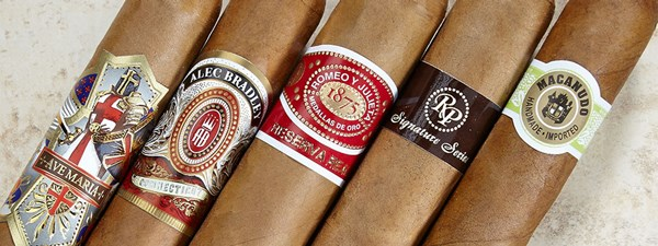 Macanudo Cafe Cigars, Rocky Patel Signature Series, Romeo y Julieta Cigars Reserva Real, Alec Bradley Connecticut, Ave Maria Cigars Immaculata