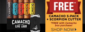 FREE Camacho Variety 5-Pack + Scorpion Lighter with Camacho box purchase!