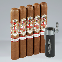 Ave Maria Lionheart + Quad Lighter Combo  5 Cigars + Quad Lighter