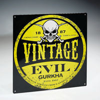 Gurkha Evil Tin Sign - Yellow
