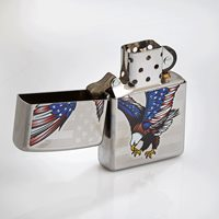 Zippo Lighter USA  Chrome  - Flying Eagle